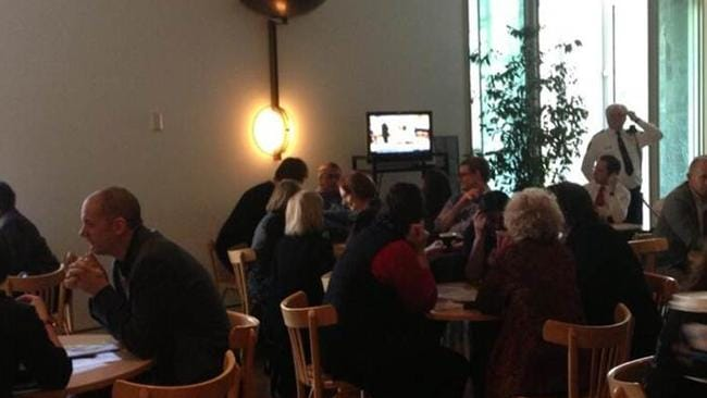 Julia Gillard was spotted having a coffee at Aussies Cafe this morning. Picture: Twitter