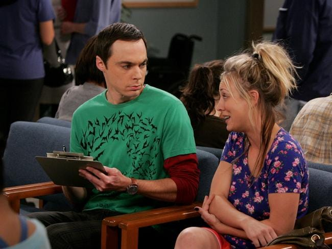 Australia's number one comedy ... Jim Parsons, as Sheldon Cooper, and Kaley Cuoco-Sweeting (Penny) in a scene from The Big Bang Theory. Picture: Supplied