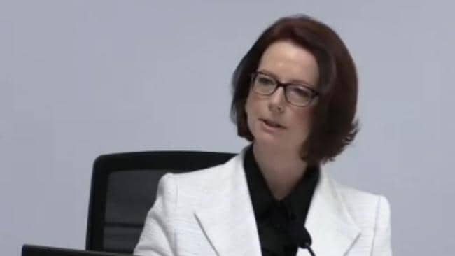 Julia Gillard gives evidence at the Royal Commission. Picture: Sky News