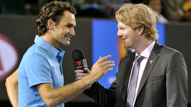 Jim Courier and Roger Federer - there's a lot of love there.