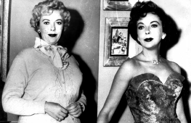 Actor Ida Lupino wearing padding (left) to add appearance of extra weight for TV series Four Star Theatre and her normal self (right) in 1955.