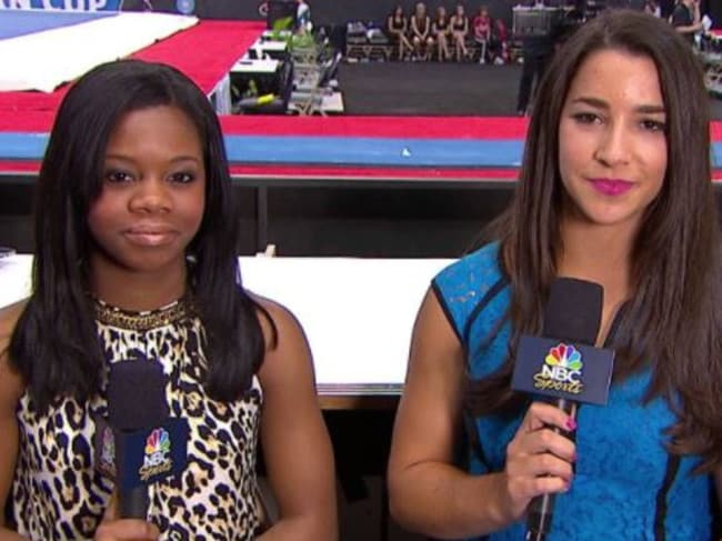 US gymnasts Gabby Douglas and Aly Raisman. Picture: YouTUbe