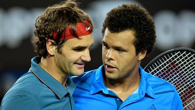"Federer and Tsonga meet at the net. ""Roger, you look younger."""