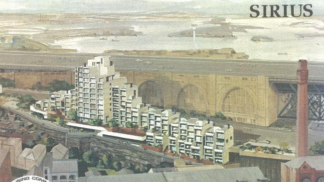 The original artists proposal for Sirius, by the Harbour Bridge.