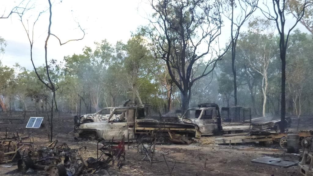 Twelve Queensland hunters will leave the NT with only the clothes on their backs after an explosion destroyed their campsite and killed six of their dogs. Picture: Supplied