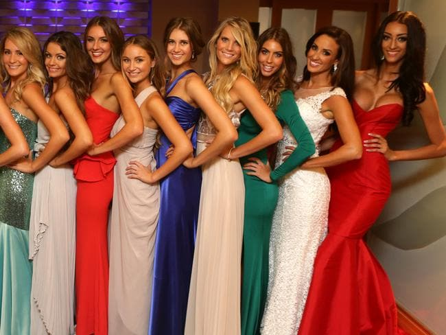 Jennifer Canham, second from the right at the QLD finals of the 2014 Miss Universe Australia.