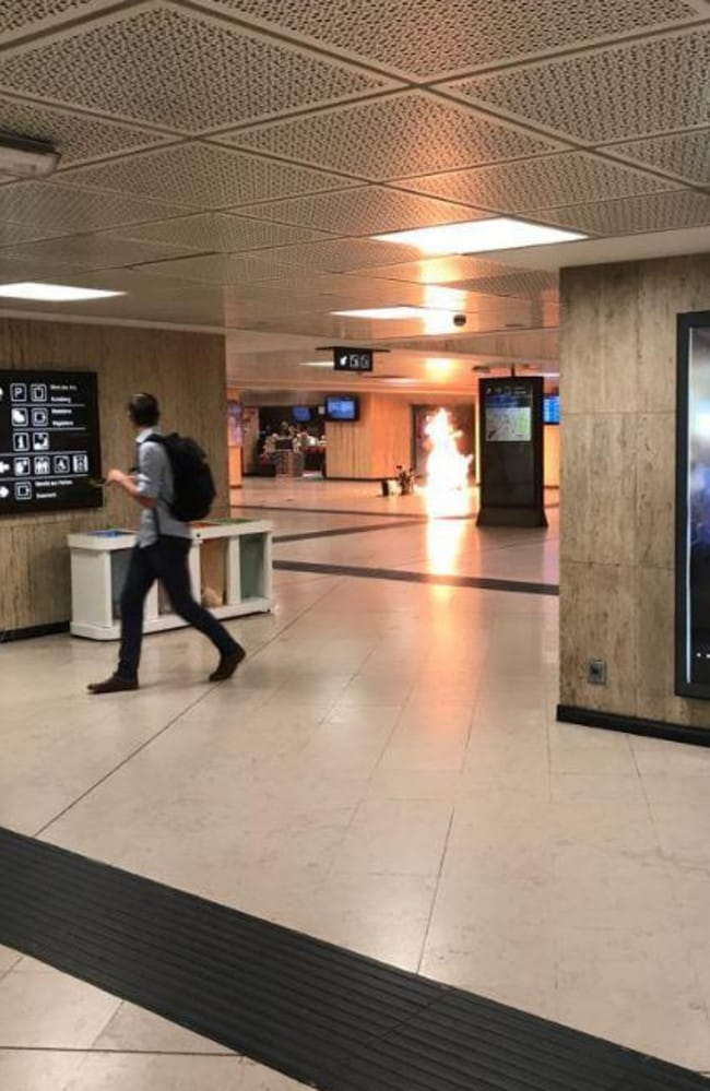 "Belgian troops patrolling the station swooped in to ""neutralise"" the man. Picture: Twitter/Remy Bonnaffe"