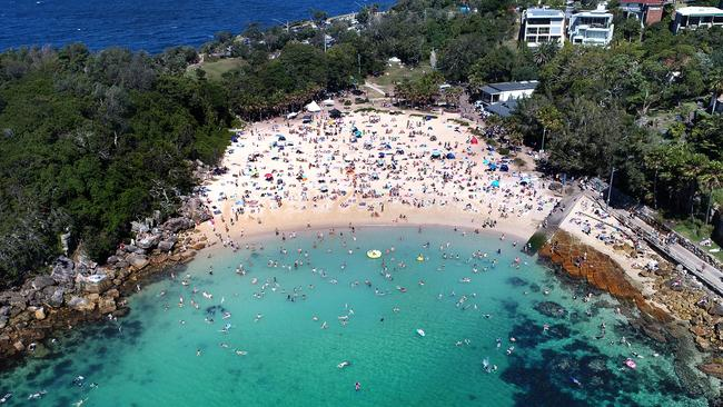 Sydneysiders at Manly, NSW, photographed by a drone. CASA issued a record number of fines for dangerous drone use last year. Picture: Toby Zerna