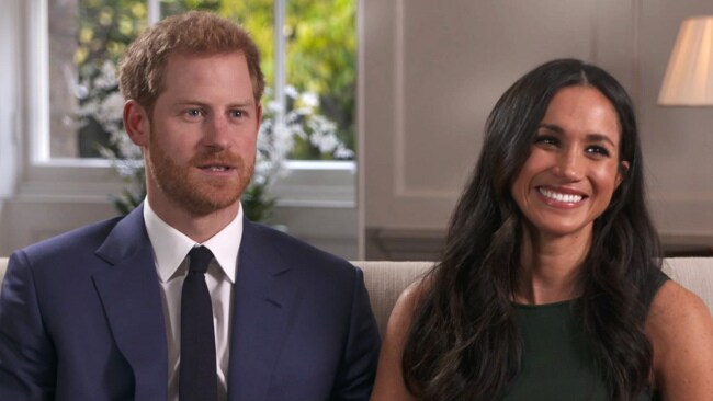 Harry and Meghan recounting their engagement story. (Pool via AP)