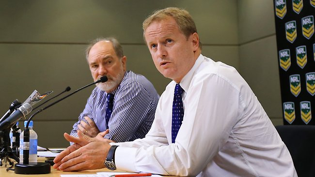 ARLC Chairman John Grant, left and NRL Chief Executive Dave Smith give a press conference at Rugby League Central. Picture: Mark Evans