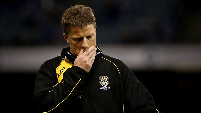 Richmond coach Damien Hardwick struggles to find an answer to the Kangaroos attack. Picture: Colleen Petch