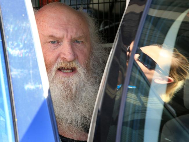 Colin Michael Newey arrives in Sydney from Adelaide after being arrested and charged for the abduction, rape and murder of Bronwynne Richardson in 1973 / Picture: Mark Evans