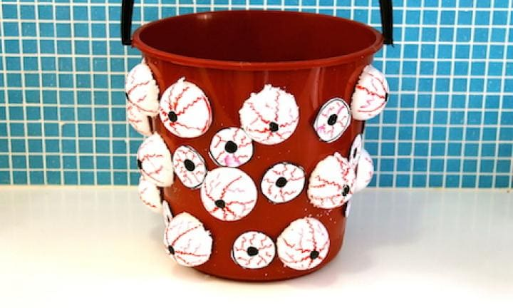 "35. Bucket of eyeballs  <p>Put it out front and fill it with lollies or give it to your child to collect their treats in when they go around the neighbourhood. Either way, nobody will be expecting that!</p> <p><a href=""http://www.kidspot.com.au/things-to-do/activities/bucket-of-eyeballs"">See here for how to make a Bucket of eyeballs.</a></p>"