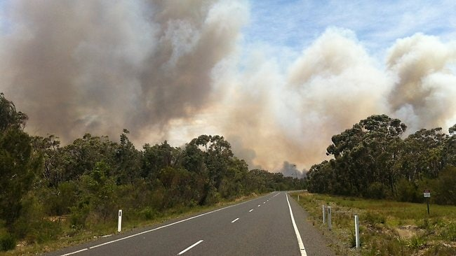 Deans Gap fire south of Nowra. Picture: Dan Himbrechts
