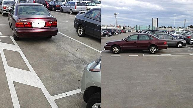 This one takes the cake for blocking the road AND a carpark at Highpoint Shopping Centre. Picture: Facebook/Melbourne Crap Parking