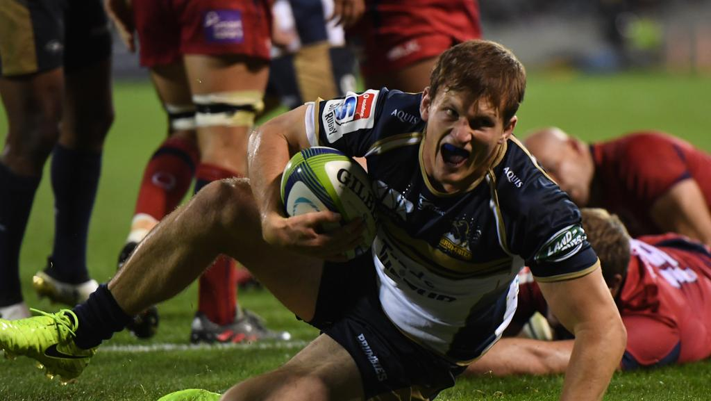 James Dargaville of the Brumbies celebrates his try.