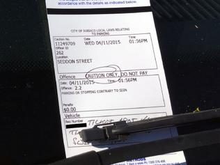 A car displaying a full-day Wilson Parking ticket, as well as a caution notice from a City of Subiaco parking ranger. Picture: www.communitynews.com.au