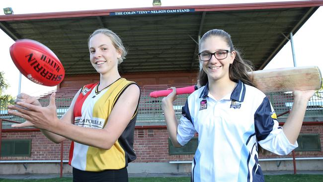 Goodwood Saints player Persia Tuckey and Goodwood Cricket Club player Taylor Hutchinson. Picture: Stephen Laffer
