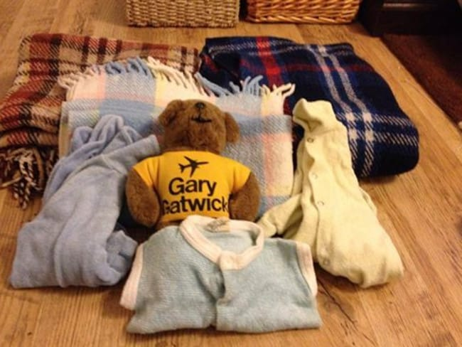 The items found along with the baby boy known as Gary Gatwick.