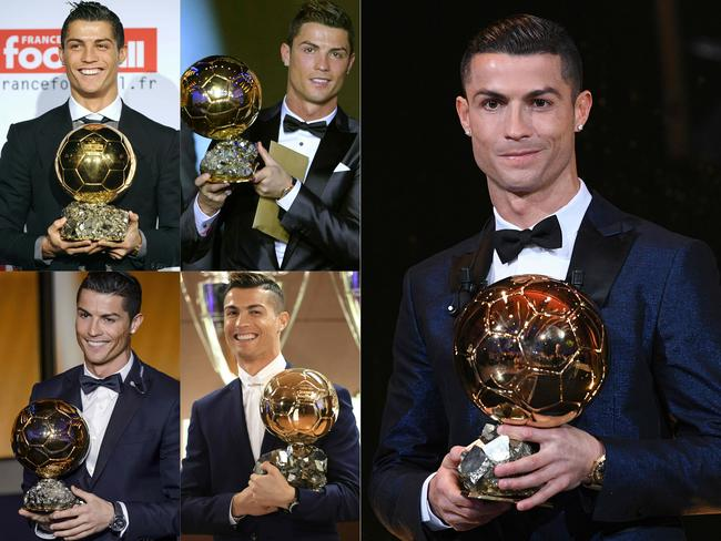 Ronaldo with his five Ballon d'Or trophies.