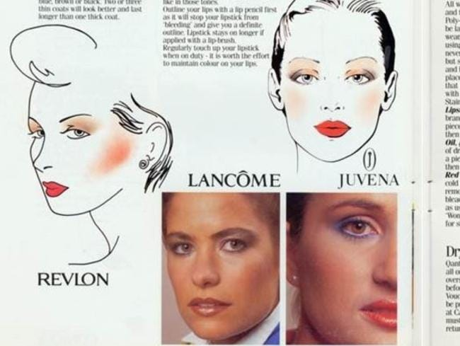 Maybe she's born with it. Maybe it's Qantas' 1986 make-up lookbook. Picture: Qantas