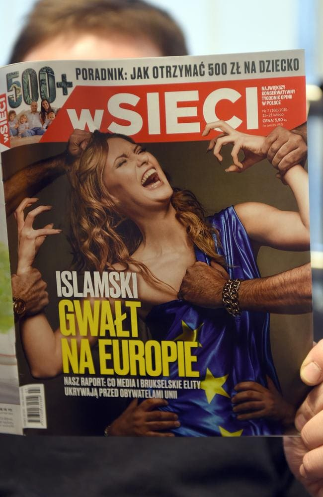 Right-wing Polish magazine 'W Sieci' was slammed for its controversial 'Islamic Rape of Europe' cover. Picture: Janek Skarzynski