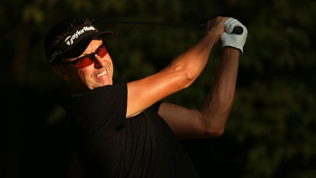 Robert Allenby tees off in the second round at the Wyndham Championship.