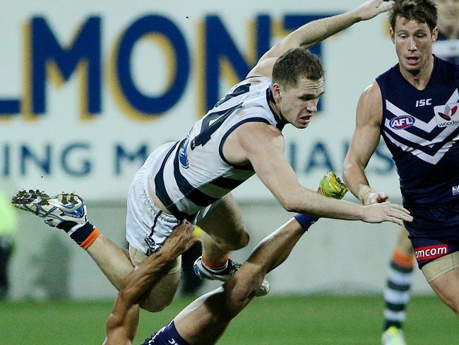 Joel Selwood was at his combative best. Picture: Colleen Petch.