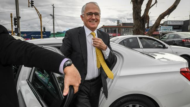 Things are looking up for Prime Minister Malcolm Turnbull as he visits the electorate of Deakin. Picture: Jake Nowakowski