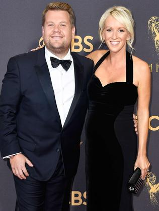 James Corden and wife Julia Carey. Picture: Getty Images/AFP
