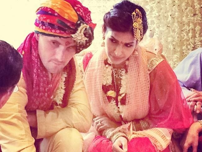 Shaun Tait marries girlfriend Mashoom Singha in Mumbai, India. Picture: Social Media.