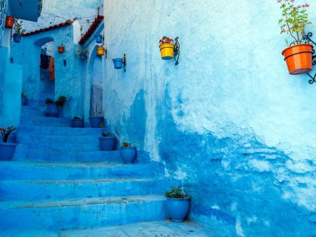 Chefchaouen is a blue city in the north of Morocco. The country in North Africa also has mountain ranges, ancient cities, and deserts.