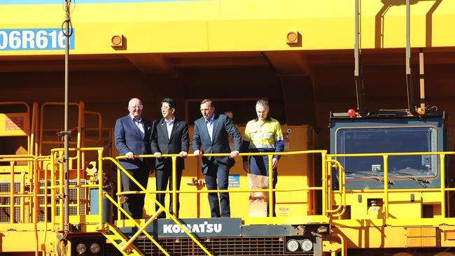 On tour ... Prime Minister Tony Abbott and the Japanese Prime Minister Shinzo Abe with CEO Rio Tinto Sam Walsh with the chief executive Andrew Harding during their visit to Rio Tinto's West Angelas iron ore mine. Picture: Gary Ramage