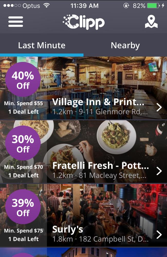 The Clipp App lets people manage a bar tab and find discounted meals.