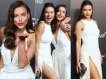 Victoria's Secret models Adriana Lima and Irina Shayk attend the Soiree Chopard 'Gold Party' on the sidelines of the 2015 Cannes film festival. Picture: AFP