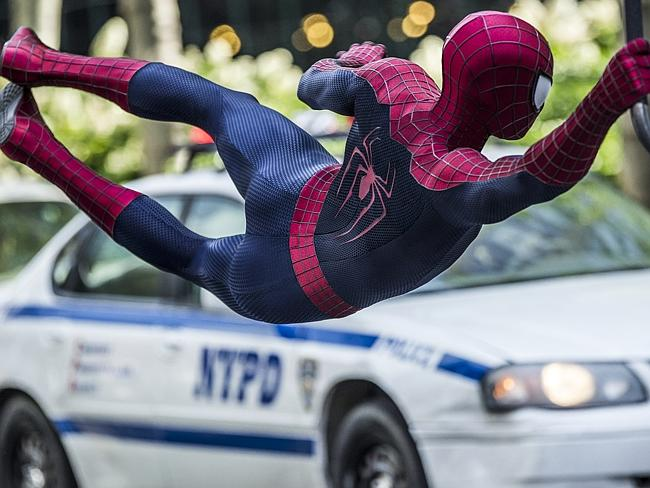 Hanging on ... Andrew Garfield stars as Spider-Man in The Amazing Spider-Man 2, also starring Emma Stone.