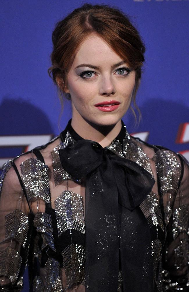 """American actress Emma Stone poses before the premiere of the film """"The Amazing Spider-Man 2"""" in Rome."""