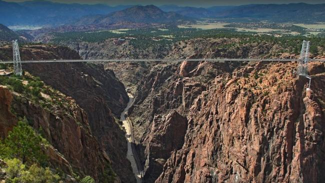 The twin sisters were found in a car near the Colorado tourist attraction Royal Gorge Bridge (above). Picture: Google.