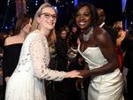 Meryl Streep and Viola Davis attend the 23rd Annual Screen Actors Guild Awards Cocktail Reception at The Shrine Expo Hall on January 29, 2017 in Los Angeles, California. Picture: Getty