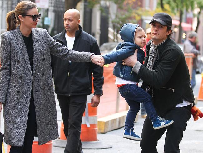 Orlando Bloom and Miranda Kerr take their son Flynn go for a walk in Manhattan just days