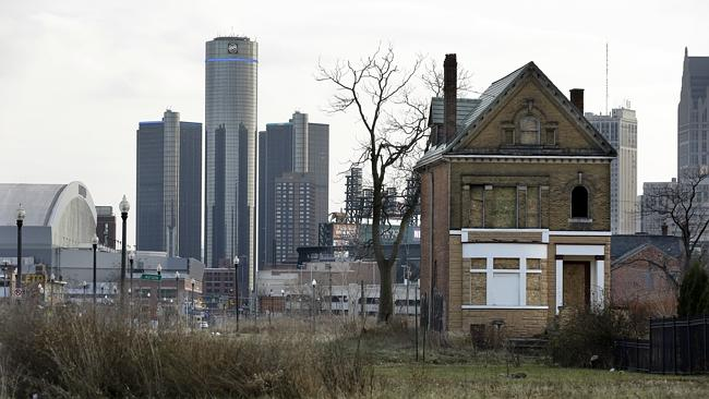 Abandoned homes in the downtown area of Detroit. Picture: AP.
