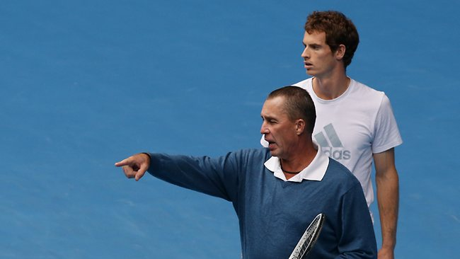 Britain's Andy Murray, right, listens as his coach Ivan Lendl gestures during a training session on Rod Laver Arena.