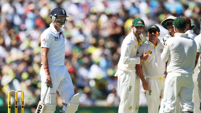 The Australian's give Joe Root a send off after his review was not successful during the third Ashes Test of the 2013/14 series. Picture: Phil Hillyard
