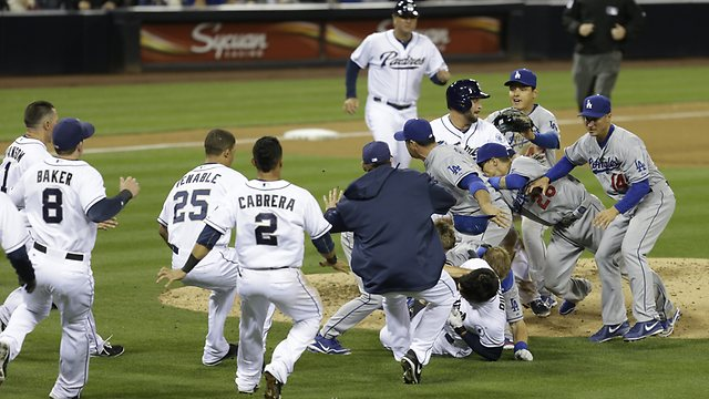 The benches-clearing brawl in San Diego