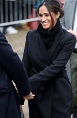 Meghan Markle arrives to a walkabout at Cardiff Castle on January 18, 2018 in Cardiff, Wales. Picture: Getty