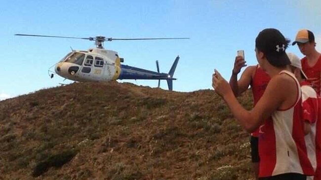 Gippsland Power footballers are evacuated from Mt Feathertop. Picture: Gippsland Power