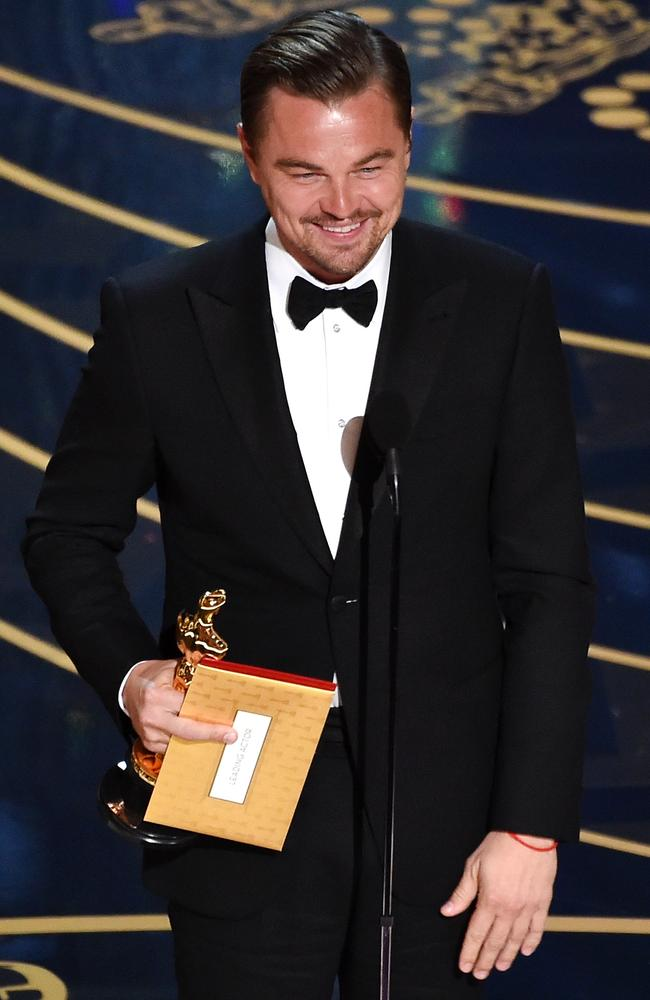 Leonardo DiCaprio accepts the Best Actor award for 'The Revenant'. Picture: Kevin Winter/Getty Images)