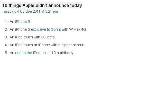 From Splatf: 10 things Apple didn't announce today.