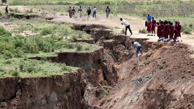 The deep chasm appeared following heavy downpours of rain in March. Picture: AFP/ Simon Maina