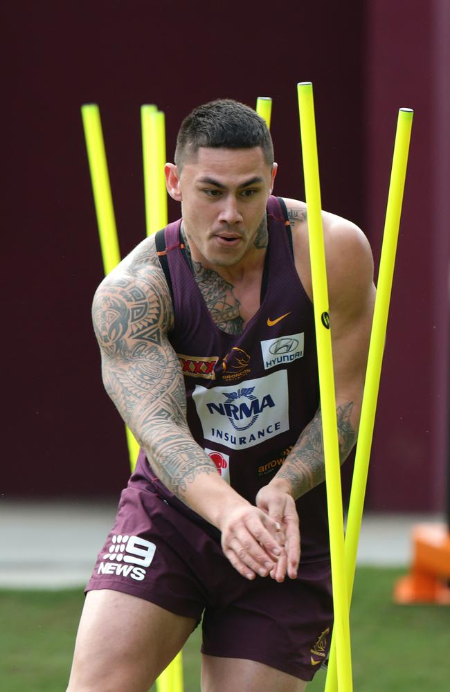 Daniel Vidot makes huge metres for Brisbane. Picture: Darren England